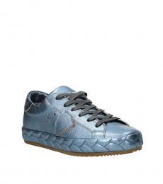 Philippe Model Blue Metallic Low Top Sneakers