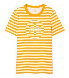 Tory Burch Yellow Striped Logo T-Shirt