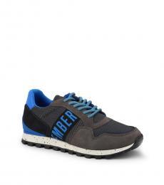 Blue Grey Side Logo Sneakers