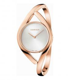 Calvin Klein Rose Gold Party Silver Dial Bangle Watch