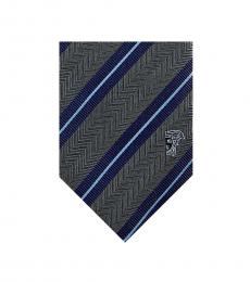 Versace Green Blue Dual Striped Tie
