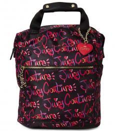 Juicy Couture Black Drip Graffiti Large Backpack