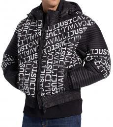 Just Cavalli Black Allover Logo Jacket