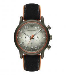 Emporio Armani Black Orange Chronograph Watch