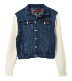7 For All Mankind Girls Pererenial Knit Sleeve Denim Jacket