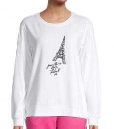 Karl Lagerfeld White Black Eiffel Tower Graphic Sweatshirt