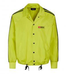 Diesel Neon Yellow Logo Buttoned Jacket