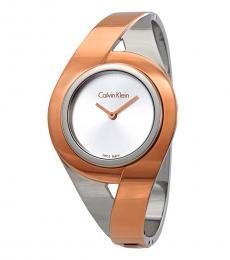 Calvin Klein Silver-Rose Gold Two Tone Bangle Watch