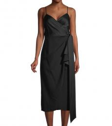 Diane Von Furstenberg Black Avila Midi Wrap Dress
