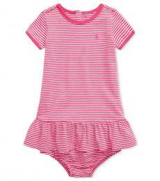 Ralph Lauren Baby Girls Accent Pink Jersey Dress