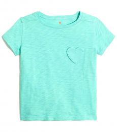 J.Crew Girls Aqua Heart Pocket T-Shirt