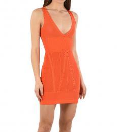Orange Knited Mini Pencil Dress