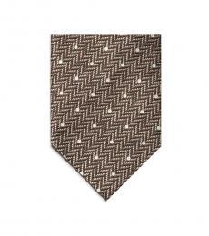 Tom Ford Brown Herringbone Polka Dot Tie