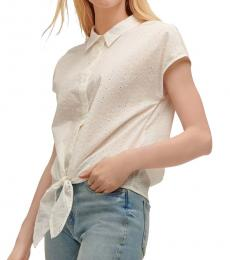 DKNY White Collared Button Down Top