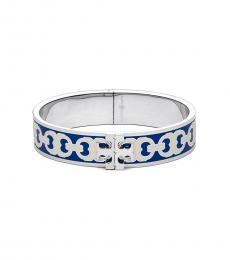 Tory Burch Bondi Blue Enamel Logo Bracelet