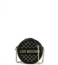 Love Moschino Black Studded Round Mini Crossbody