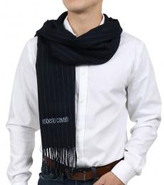 Navy Blue Brushed Pinstripe Scarf