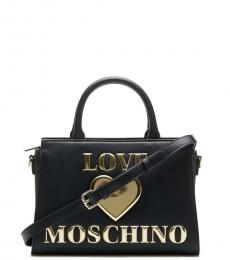 Love Moschino Black Padded Heart Small Satchel