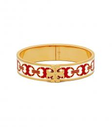 Tory Burch New Ivory-Red Enamel Logo Bracelet