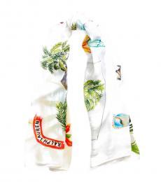 Ralph Lauren White Multi Jamaica-Print Wrap Scarf