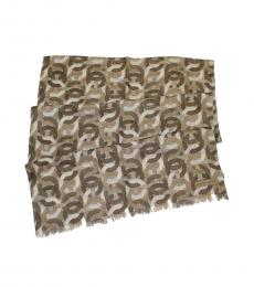Beige C Metallic Oblong Scarf