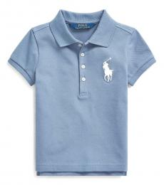 Ralph Lauren Little Girls Capri Blue Big Pony Mesh Polo