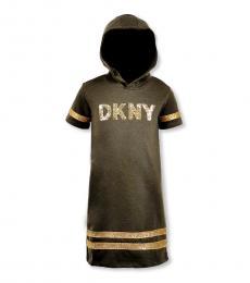 DKNY Girls Dark Olive Sequin Stripe Hoodie Dress