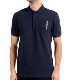 Versace Collection Navy Blue Graphic Print Polo
