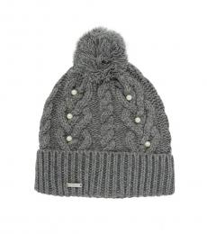 Heather Granite Knit & Faux Pearl Beanie
