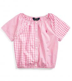 Ralph Lauren Little Girls Pink Mixed-Gingham Top