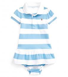 Ralph Lauren Baby Girls Chatham Blue Striped Rugby Dress