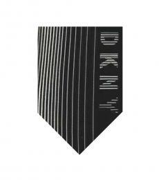 Black White Striped Logo Slim Tie