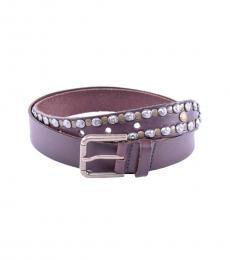Dolce & Gabbana Dark Brown Stud Leather Belt