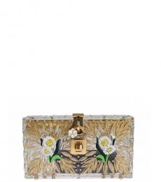 Dolce & Gabbana Gold Plexi Flower Clutch