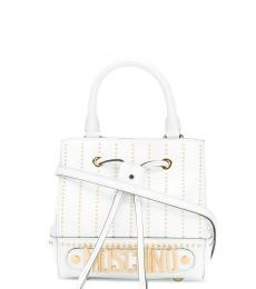 White Studded Mini Bucket Bag