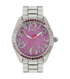 Betsey Johnson Silver Crystal Bezel Watch