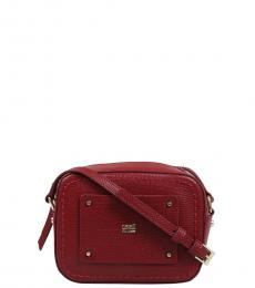Red Textured Small Crossbody