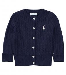Ralph Lauren Baby Girls Navy Cable-Knit Cardigan