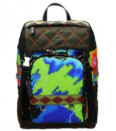 Multicolor Quilted Large Backpack