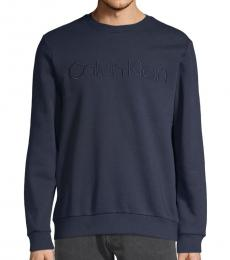 Navy Logo Cotton-Blend Sweatshirt