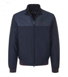 Fred Perry Dark Blue Logo Colorblock Jacket