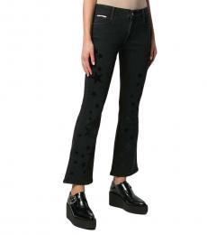 Black Star Print Flared Jeans