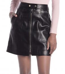 Black Dual Zip Front Mini Skirt