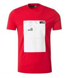 Love Moschino Red Graphic Print T-Shirt