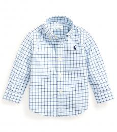 Baby Boys Island Aqua Plaid Poplin Shirt