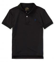 Little Boys Black Performance Jersey Polo