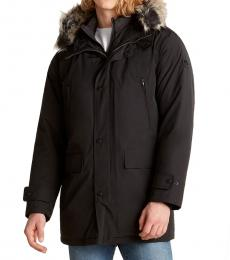 Black Quilted Bib Hooded Parka