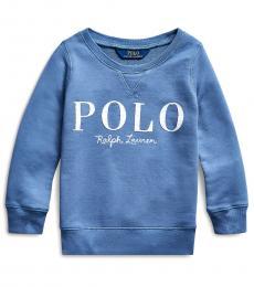 Ralph Lauren Little Girls Capri Blue French Terry Logo Pullover