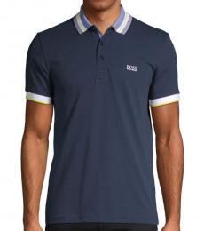 Navy Slim-Fit Logo Cotton Polo