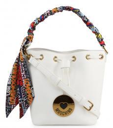 Love Moschino White Graphic Handle Medium Bucket Bag